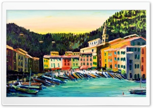 Portofino Oil Painting HD Wide Wallpaper for 4K UHD Widescreen desktop & smartphone
