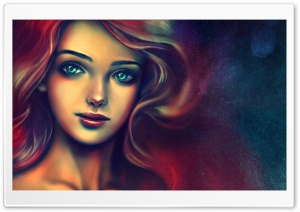 Portrait Of A Beautiful Woman Painting HD Wide Wallpaper for Widescreen