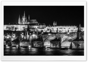 Prague at Night Black and White HD Wide Wallpaper for Widescreen