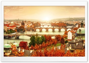 Prague Bridges, Autumn HD Wide Wallpaper for 4K UHD Widescreen desktop & smartphone
