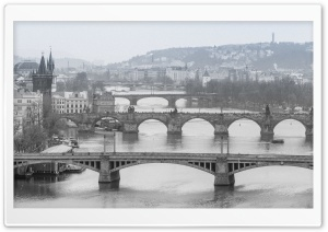 Prague Bridges Black and White Ultra HD Wallpaper for 4K UHD Widescreen desktop, tablet & smartphone