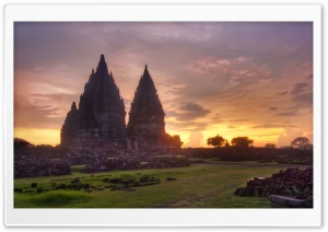 Prambanan Sunset HD Wide Wallpaper for 4K UHD Widescreen desktop & smartphone