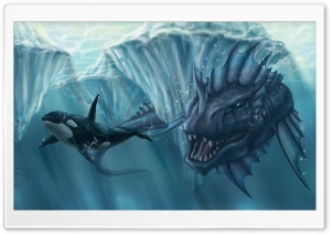 Prehistoric Underwater Monster HD Wide Wallpaper for 4K UHD Widescreen desktop & smartphone