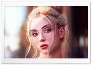 Pretty Girl Blonde Hair Painting HD Wide Wallpaper for 4K UHD Widescreen desktop & smartphone