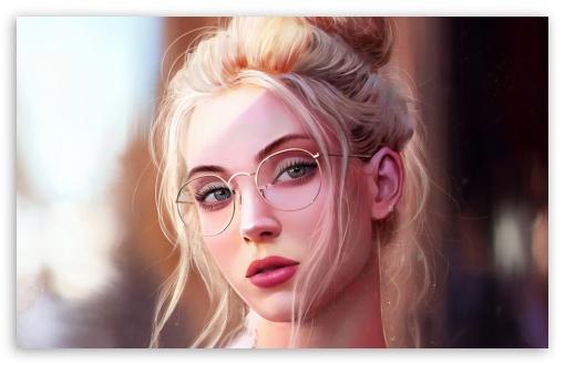 Pretty Girl Blonde Hair Painting Ultra Hd Desktop Background Wallpaper For Widescreen Ultrawide Desktop Laptop Multi Display Dual Monitor Tablet Smartphone