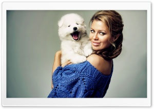 Pretty Woman With Puppy HD Wide Wallpaper for Widescreen