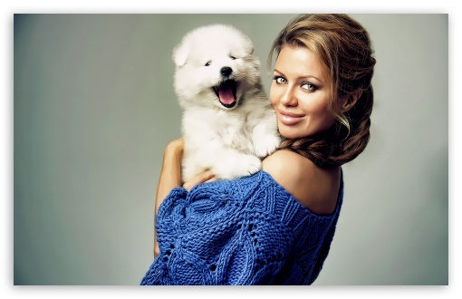 Pretty Woman With Puppy HD wallpaper for Wide 16:10 5:3 Widescreen WHXGA WQXGA WUXGA WXGA WGA ; HD 16:9 High Definition WQHD QWXGA 1080p 900p 720p QHD nHD ; Standard 4:3 5:4 3:2 Fullscreen UXGA XGA SVGA QSXGA SXGA DVGA HVGA HQVGA devices ( Apple PowerBook G4 iPhone 4 3G 3GS iPod Touch ) ; Tablet 1:1 ; iPad 1/2/Mini ; Mobile 4:3 5:3 3:2 16:9 5:4 - UXGA XGA SVGA WGA DVGA HVGA HQVGA devices ( Apple PowerBook G4 iPhone 4 3G 3GS iPod Touch ) WQHD QWXGA 1080p 900p 720p QHD nHD QSXGA SXGA ;