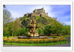 Princes Street Gardens with the Ross Fountain, Edinburgh, Scotland HD Wide Wallpaper for 4K UHD Widescreen desktop & smartphone