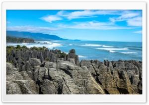 Punakaiki Pancake Rocks Landscape, Limestone Formations Ultra HD Wallpaper for 4K UHD Widescreen desktop, tablet & smartphone