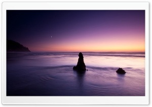 Purple Evening On The Beach HD Wide Wallpaper for Widescreen
