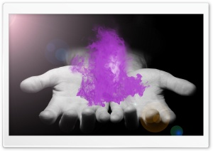 Purple Fire in Hands HD Wide Wallpaper for Widescreen