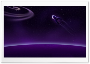 Purple Rocket Into Space HD Wide Wallpaper for Widescreen