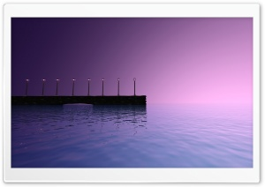 Purple Sky Pier Landscape HD Wide Wallpaper for Widescreen