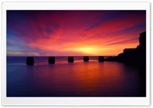 Purple Sunset On The Sea HD Wide Wallpaper for Widescreen
