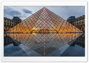 Pyramid of the Louvre, Paris, France, Europe HD Wide Wallpaper for 4K UHD Widescreen desktop & smartphone