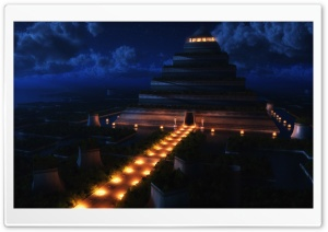 Pyramid Temple Night HD Wide Wallpaper for Widescreen