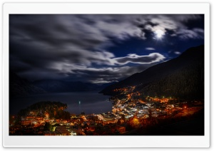 Queenstown Night Panorama HD Wide Wallpaper for Widescreen