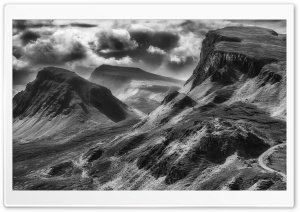 Quiraing Black and White HD Wide Wallpaper for 4K UHD Widescreen desktop & smartphone