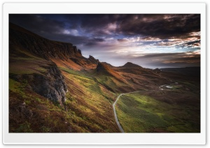 Quiraing Mountain Road Landscape, Isle of Skye, Scotland Ultra HD Wallpaper for 4K UHD Widescreen desktop, tablet & smartphone