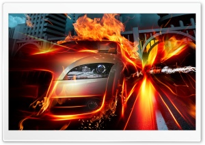 Racing Car Speed Flames HD Wide Wallpaper for Widescreen