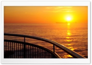 Railing By The Sea HD Wide Wallpaper for Widescreen