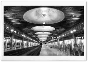 Railroad Station Black And White HD Wide Wallpaper for Widescreen