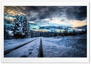 Railroad, Winter Ultra HD Wallpaper for 4K UHD Widescreen desktop, tablet & smartphone