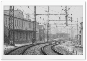Railwaystation in Winter HD Wide Wallpaper for Widescreen