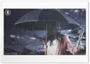 Rain Girl HD Wide Wallpaper for Widescreen