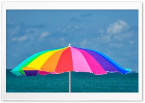 Rainbow Beach Umbrella Ultra HD Wallpaper for 4K UHD Widescreen desktop, tablet & smartphone