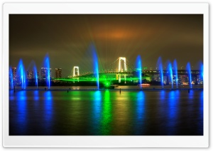 Rainbow Bridge Light Show in Tokyo HD Wide Wallpaper for Widescreen