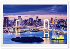 Rainbow Bridge, Tokyo, Japan HD Wide Wallpaper for Widescreen