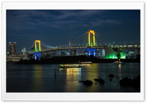 Rainbow Bridge with Ships HD Wide Wallpaper for Widescreen