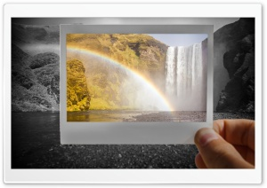 Rainbow Over Skogafoss Waterfall Photography HD Wide Wallpaper for 4K UHD Widescreen desktop & smartphone