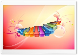 Rainbow Piano Keyboards HD Wide Wallpaper for Widescreen