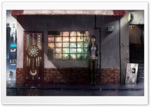 Raining Day Anime HD Wide Wallpaper for Widescreen