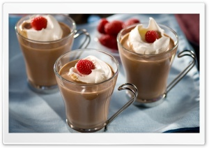 Raspberries On Cream Over Coffee HD Wide Wallpaper for Widescreen