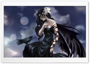 Raven Girl, Art HD Wide Wallpaper for Widescreen