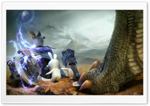Raving Rabbids Travel In Time - Jurassic HD Wide Wallpaper for 4K UHD Widescreen desktop & smartphone