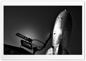Raygun Gothic Rocket Sculpture HD Wide Wallpaper for Widescreen