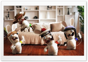 Rayman Raving Rabbids Playing Wii HD Wide Wallpaper for Widescreen