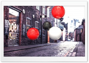 Realistic 3D Spheres On Street HD Wide Wallpaper for 4K UHD Widescreen desktop & smartphone