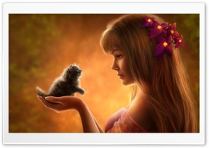 Realistic Kitten Drawing HD Wide Wallpaper for Widescreen