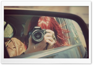 Rearview Mirror Girl HD Wide Wallpaper for Widescreen