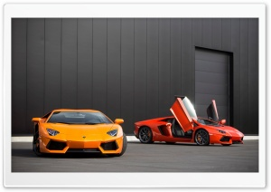 Red and Orange Lamborghini Aventador HD Wide Wallpaper for Widescreen