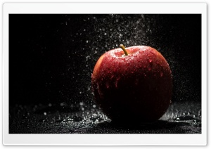 Red Apple Water Drops HD Wide Wallpaper for Widescreen