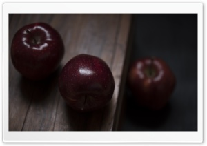 Red Apples Fruits, Wooden Table, Dark Ultra HD Wallpaper for 4K UHD Widescreen desktop, tablet & smartphone