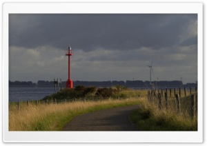 Red beacon at the Oosterschelde, Bruinisse The Netherlands Ultra HD Wallpaper for 4K UHD Widescreen desktop, tablet & smartphone