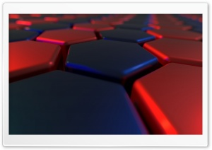 Red, Blue, abstract hexagons HD Wide Wallpaper for Widescreen
