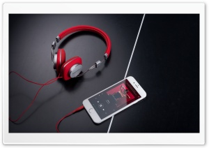 Red Bowers and Wilkins P3 Headphones HD Wide Wallpaper for Widescreen